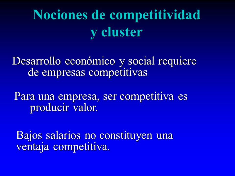 Nociones de competitividad y cluster Desarrollo económico y social requiere de empresas competitivas Para una empresa, ser competitiva es producir val
