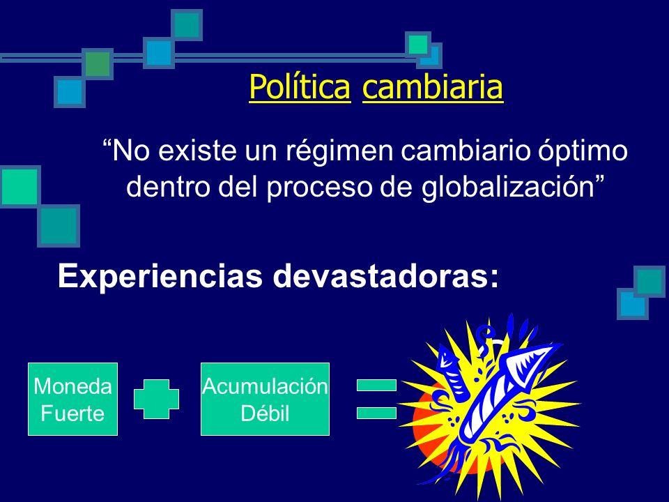 Autonomía monetaria Ventajas: Control de la inflación Programación monetaria de Estado Desventajas y limitantes: Dificultad para combinar políticas mo