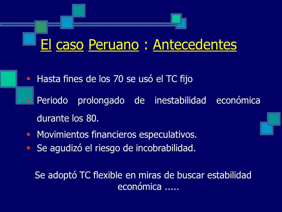 Regímenes Cambiarios Flexibles Absorben choques externos Política monetaria eficaz Desalientan créditos de corto plazo Mayor fluctuación del TC real S