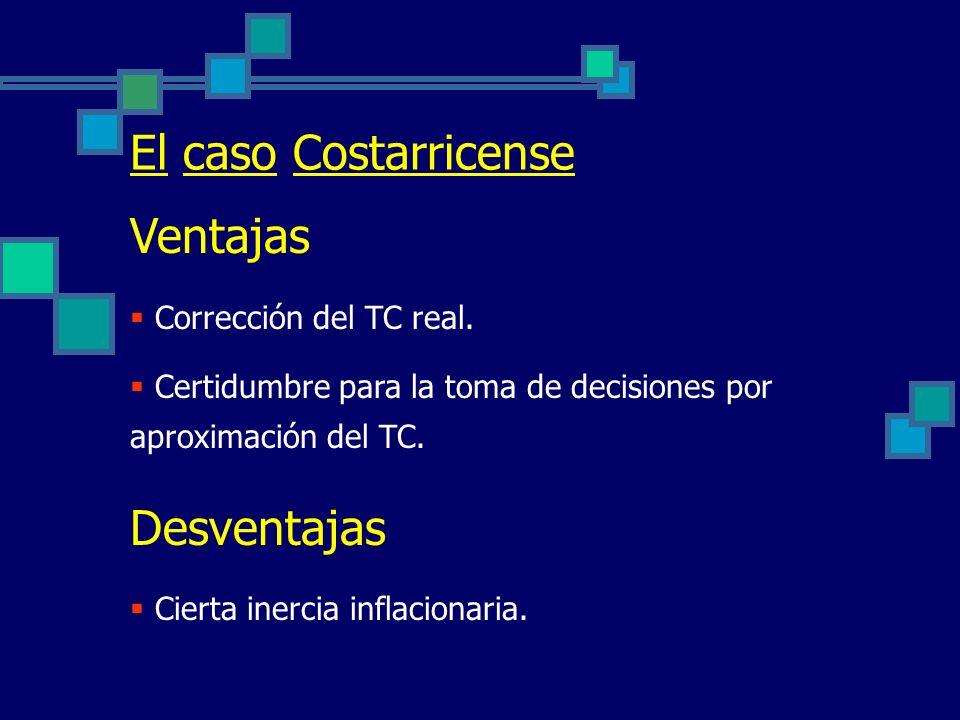 El caso Costarricense Antecedentes Crisis 80 – 82 : Indisciplina fiscal Alto déficit cuasi-fiscal Desorden cambiario Se define a partir de 1984 un rég