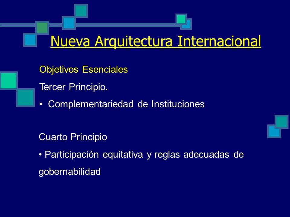 Nueva Arquitectura Internacional Objetivos Esenciales Primer Principio. Suministro de Bienes Públicos Globales (BPG) Corrección de asimetrías del orde