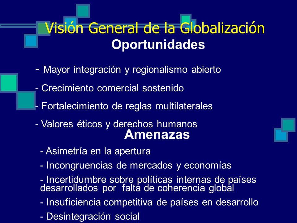 Visión General de la Globalización Amenazas - Asimetría en la apertura - Incongruencias de mercados y economías - Incertidumbre sobre políticas internas de países desarrollados por falta de coherencia global - Insuficiencia competitiva de países en desarrollo - Desintegración social Oportunidades - Mayor integración y regionalismo abierto - Crecimiento comercial sostenido - Fortalecimiento de reglas multilaterales - Valores éticos y derechos humanos