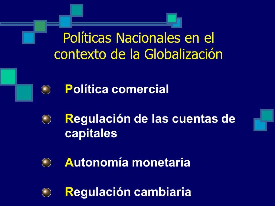 Políticas Nacionales en el contexto de la Globalización Política comercial Regulación de las cuentas de capitales Autonomía monetaria Regulación cambiaria