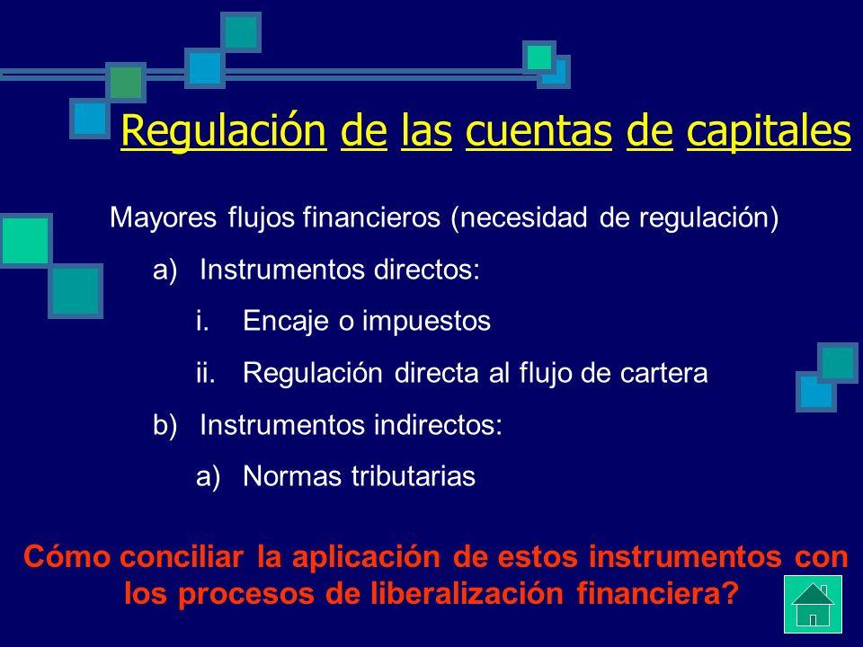 Regulación de las cuentas de capitales Mayores flujos financieros (necesidad de regulación) a)Instrumentos directos: i.Encaje o impuestos ii.Regulación directa al flujo de cartera b)Instrumentos indirectos: a)Normas tributarias Cómo conciliar la aplicación de estos instrumentos con los procesos de liberalización financiera?