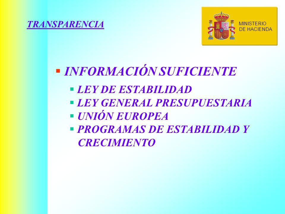 TRANSPARENCIA INFORMACIÓN SUFICIENTE LEY DE ESTABILIDAD LEY GENERAL PRESUPUESTARIA UNIÓN EUROPEA PROGRAMAS DE ESTABILIDAD Y CRECIMIENTO MINISTERIO DE HACIENDA