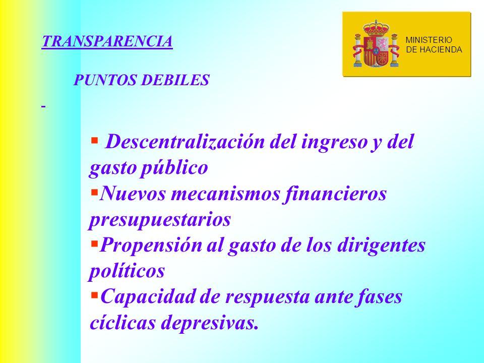TRANSPARENCIA PUNTOS DEBILES Descentralización del ingreso y del gasto público Nuevos mecanismos financieros presupuestarios Propensión al gasto de los dirigentes políticos Capacidad de respuesta ante fases cíclicas depresivas.
