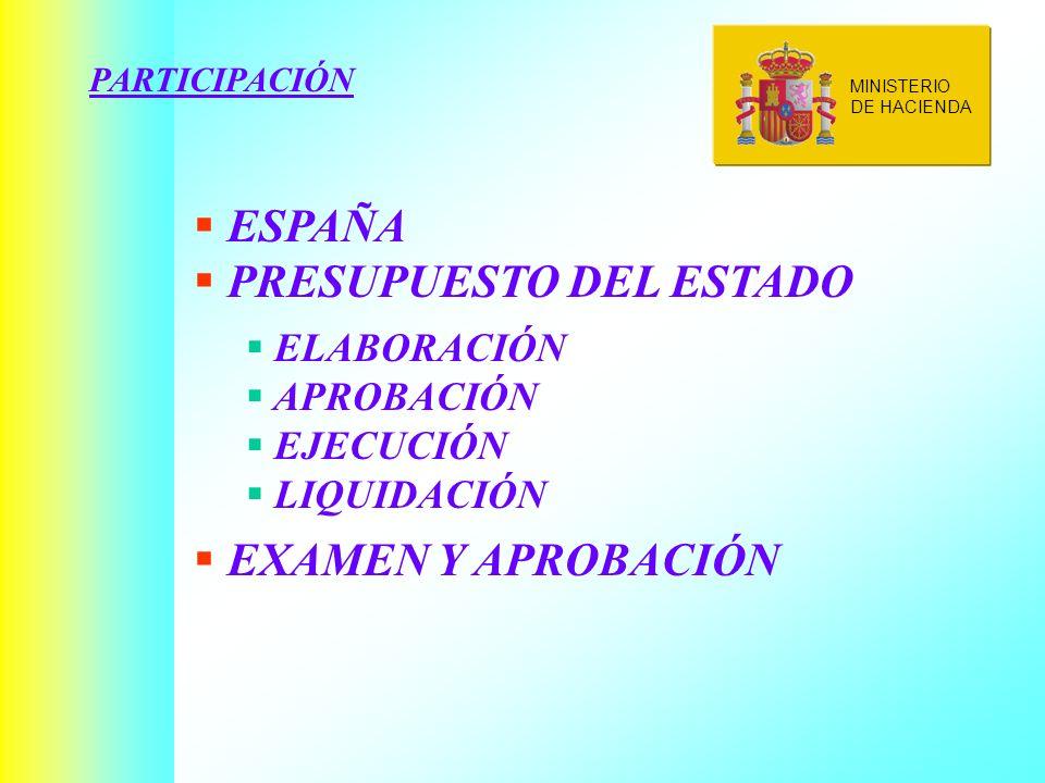 PARTICIPACIÓN ESPAÑA PRESUPUESTO DEL ESTADO ELABORACIÓN APROBACIÓN EJECUCIÓN LIQUIDACIÓN EXAMEN Y APROBACIÓN MINISTERIO DE HACIENDA