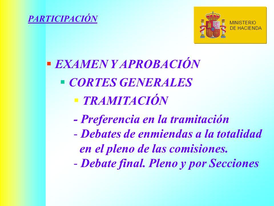 PARTICIPACIÓN EXAMEN Y APROBACIÓN CORTES GENERALES TRAMITACIÓN - Preferencia en la tramitación - Debates de enmiendas a la totalidad en el pleno de las comisiones.