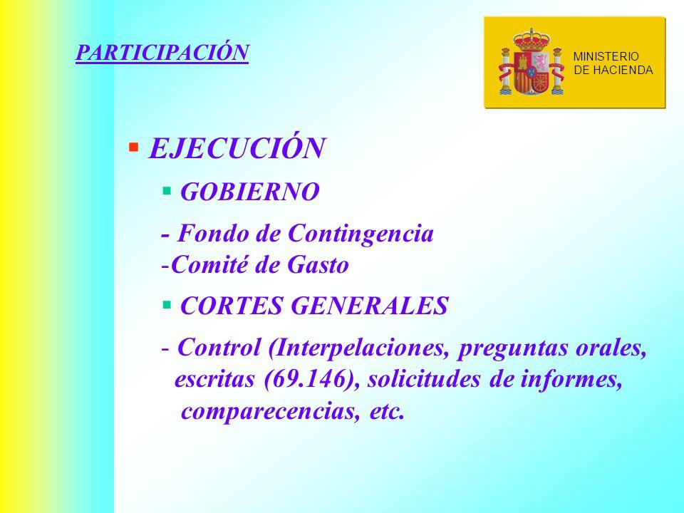 PARTICIPACIÓN EJECUCIÓN GOBIERNO - Fondo de Contingencia -Comité de Gasto CORTES GENERALES - Control (Interpelaciones, preguntas orales, escritas (69.146), solicitudes de informes, comparecencias, etc.