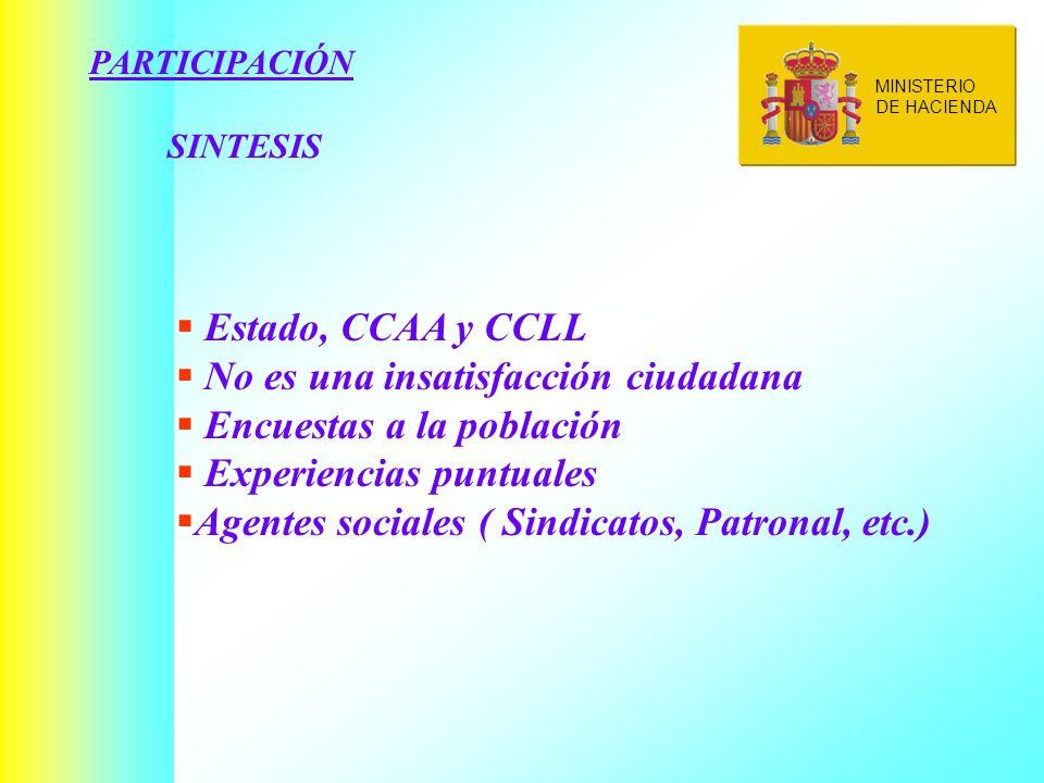 PARTICIPACIÓN SINTESIS Estado, CCAA y CCLL No es una insatisfacción ciudadana Encuestas a la población Experiencias puntuales Agentes sociales ( Sindicatos, Patronal, etc.) MINISTERIO DE HACIENDA