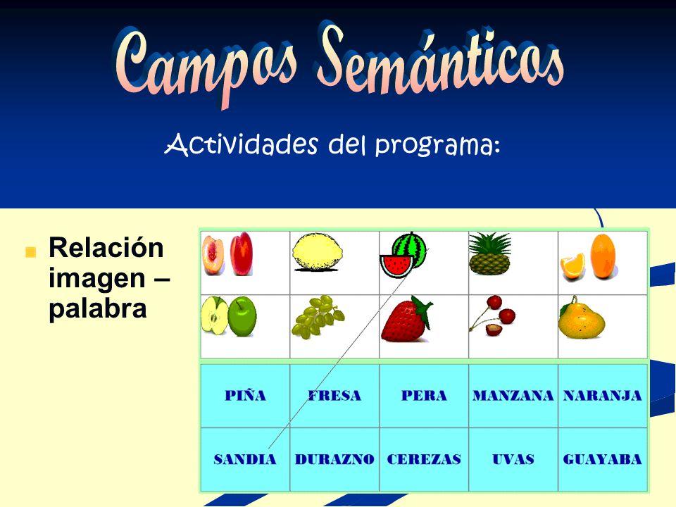 EL MENÚ CONTIENE : Indicación para acceder al programa El nombre de 5 diferentes campos semánticos a elegir Opción de salir del programa