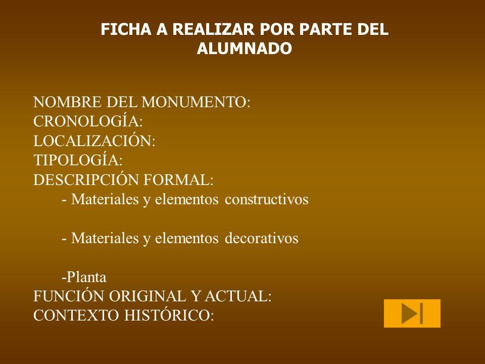 NOMBRE DEL MONUMENTO: CRONOLOGÍA: LOCALIZACIÓN: TIPOLOGÍA: DESCRIPCIÓN FORMAL: - Materiales y elementos constructivos - Materiales y elementos decorat