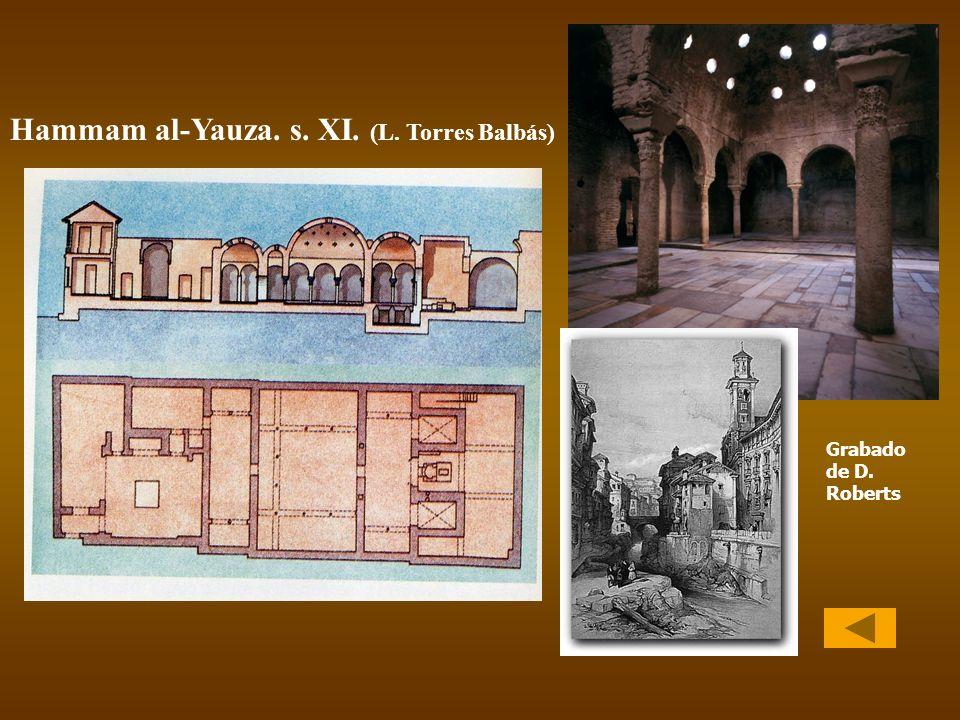 Hammam al-Yauza. s. XI. (L. Torres Balbás) Grabado de D. Roberts