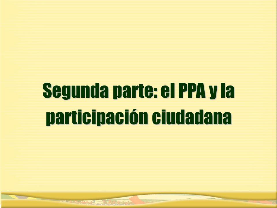 Segunda parte: el PPA y la participación ciudadana