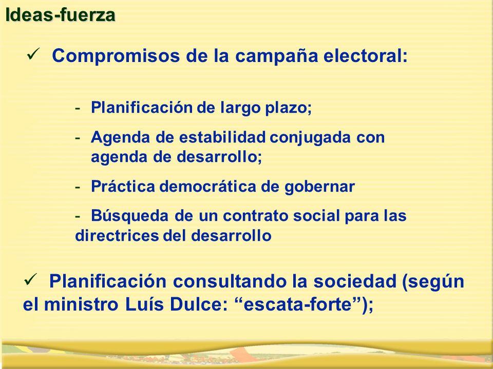 Planificación consultando la sociedad (según el ministro Luís Dulce: escata-forte);Ideas-fuerza Compromisos de la campaña electoral: -Planificación de largo plazo; -Agenda de estabilidad conjugada con agenda de desarrollo; -Práctica democrática de gobernar -Búsqueda de un contrato social para las directrices del desarrollo