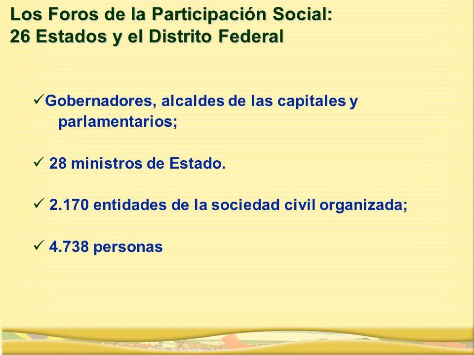 Gobernadores, alcaldes de las capitales y parlamentarios; 28 ministros de Estado. 2.170 entidades de la sociedad civil organizada; 4.738 personas Los