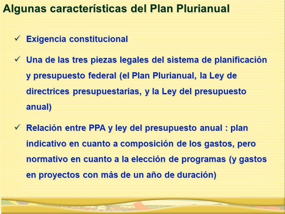 Exigencia constitucional Exigencia constitucional Una de las tres piezas legales del sistema de planificación y presupuesto federal (el Plan Plurianua