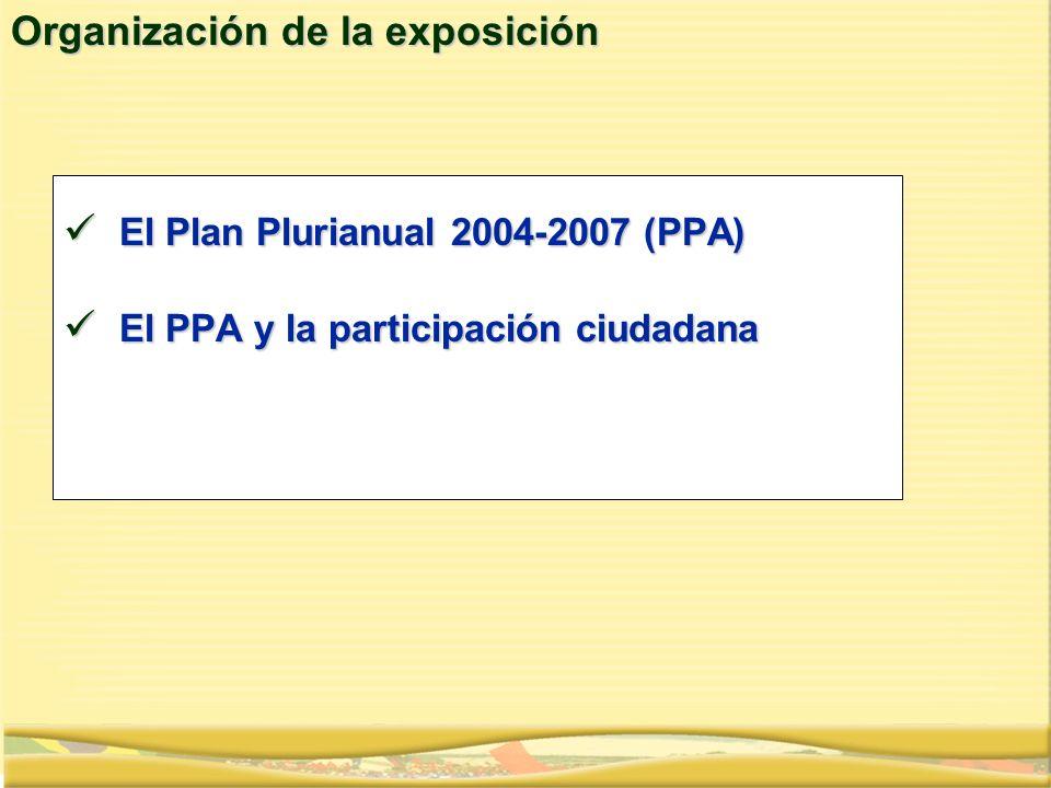 Organización de la exposición El Plan Plurianual 2004-2007 (PPA) El Plan Plurianual 2004-2007 (PPA) El PPA y la participación ciudadana El PPA y la pa