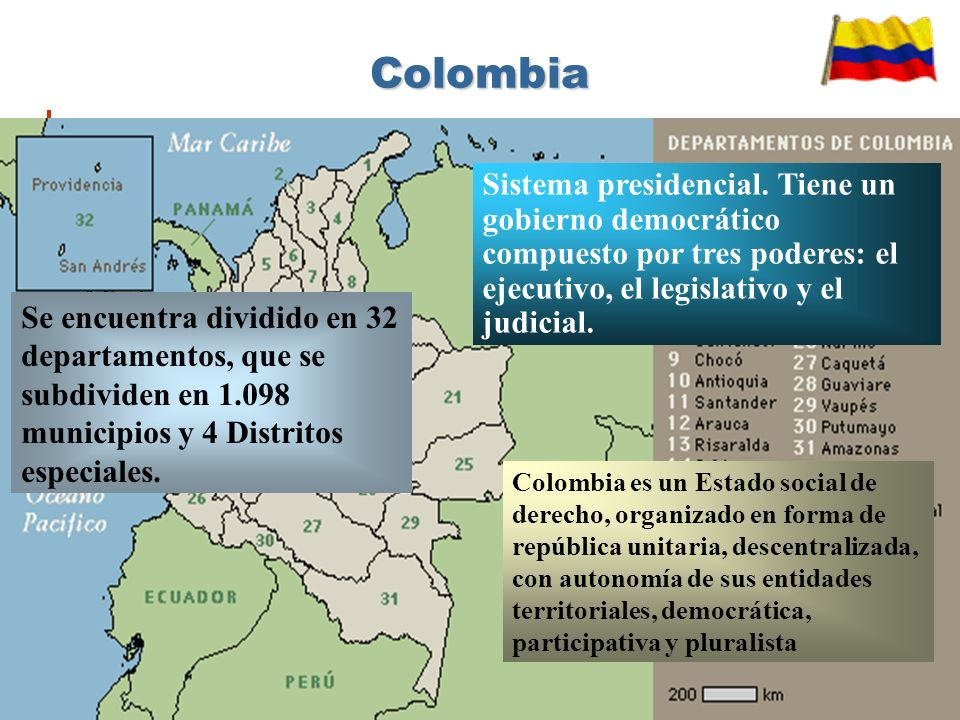 Colombia es un Estado social de derecho, organizado en forma de república unitaria, descentralizada, con autonomía de sus entidades territoriales, democrática, participativa y pluralista Se encuentra dividido en 32 departamentos, que se subdividen en 1.098 municipios y 4 Distritos especiales.