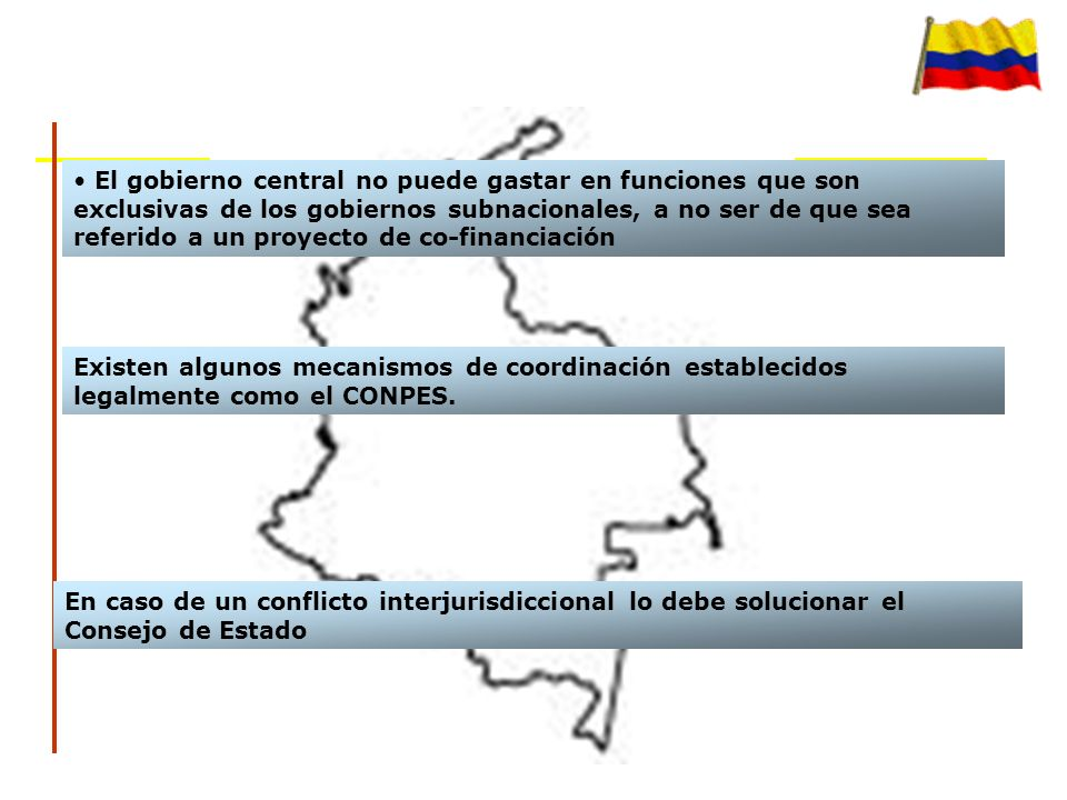 El gobierno central no puede gastar en funciones que son exclusivas de los gobiernos subnacionales, a no ser de que sea referido a un proyecto de co-financiación Existen algunos mecanismos de coordinación establecidos legalmente como el CONPES.