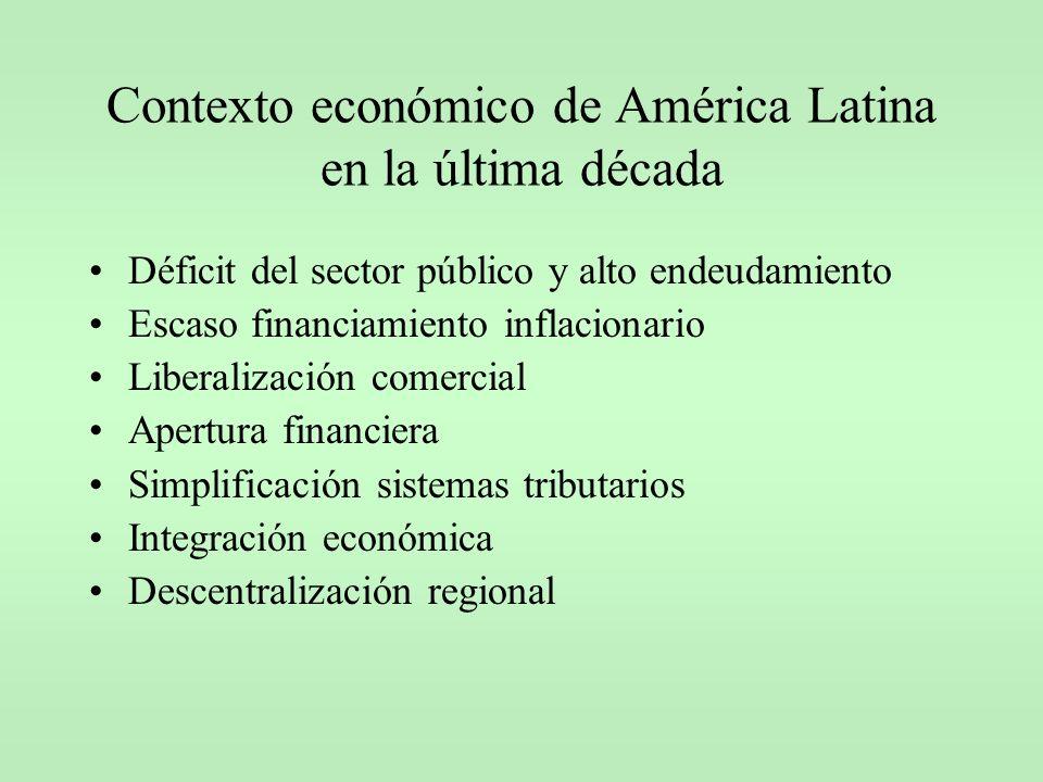 Evolución de los sistemas tributarios latinoamericanos en la última década Caída en la recaudación arancelaria Incremento en los impuestos generales a las ventas Estancamiento en la imposición directa Aplicación de nuevos tributos heterodoxos