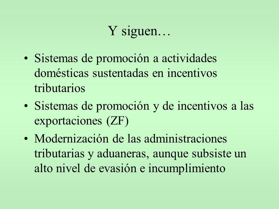 Y siguen… Sistemas de promoción a actividades domésticas sustentadas en incentivos tributarios Sistemas de promoción y de incentivos a las exportacion
