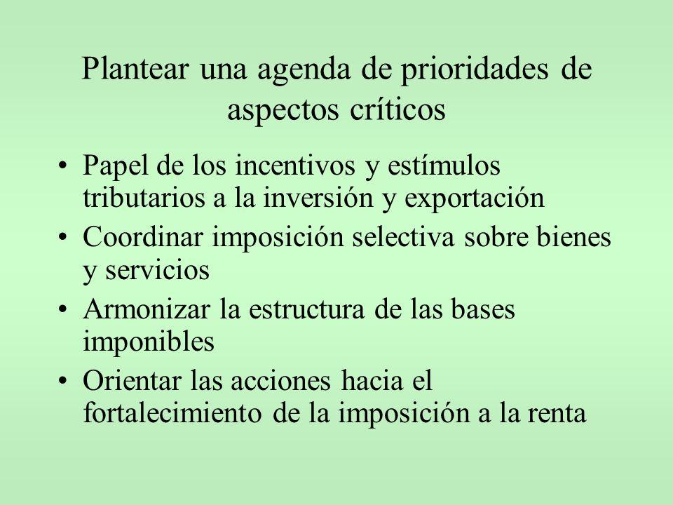 Plantear una agenda de prioridades de aspectos críticos Papel de los incentivos y estímulos tributarios a la inversión y exportación Coordinar imposic