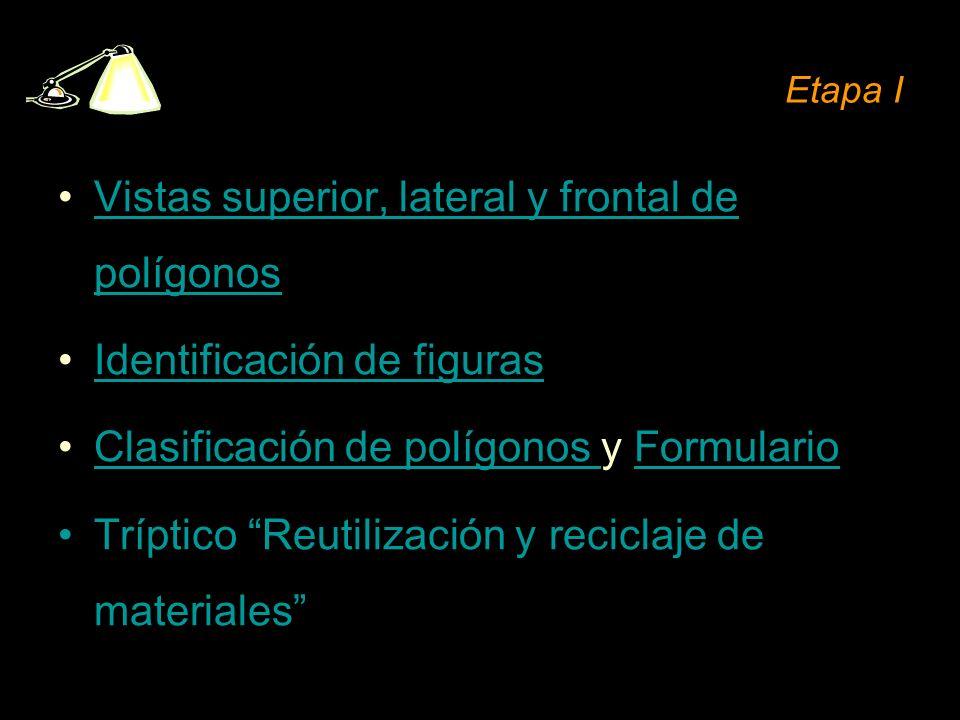 Etapa I Vistas superior, lateral y frontal de polígonosVistas superior, lateral y frontal de polígonos Identificación de figuras Clasificación de polí