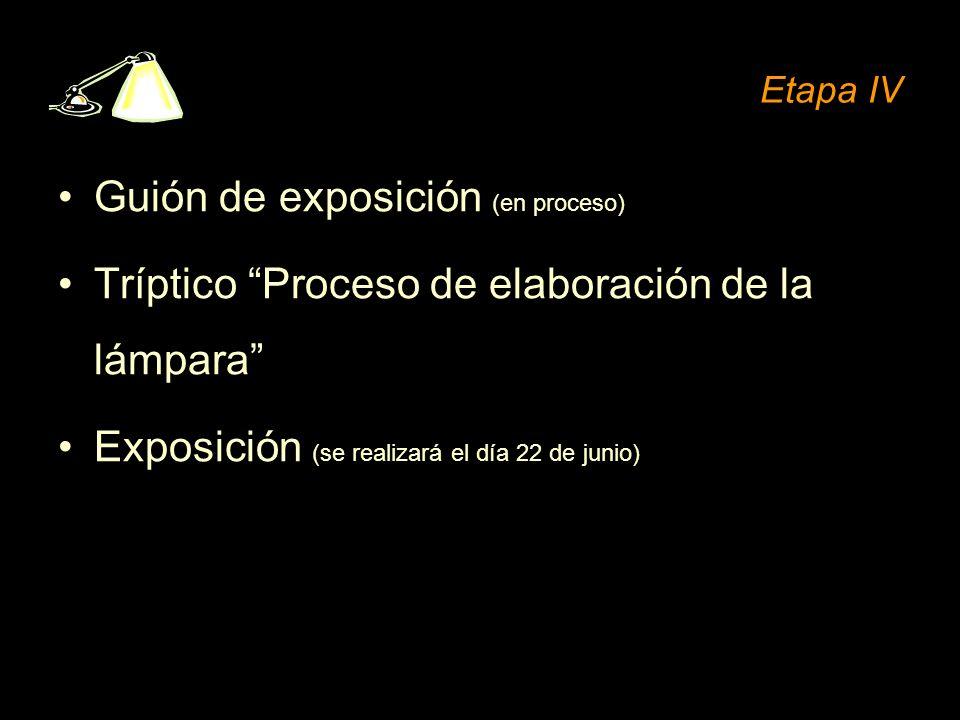 Etapa IV Guión de exposición (en proceso) Tríptico Proceso de elaboración de la lámpara Exposición (se realizará el día 22 de junio)