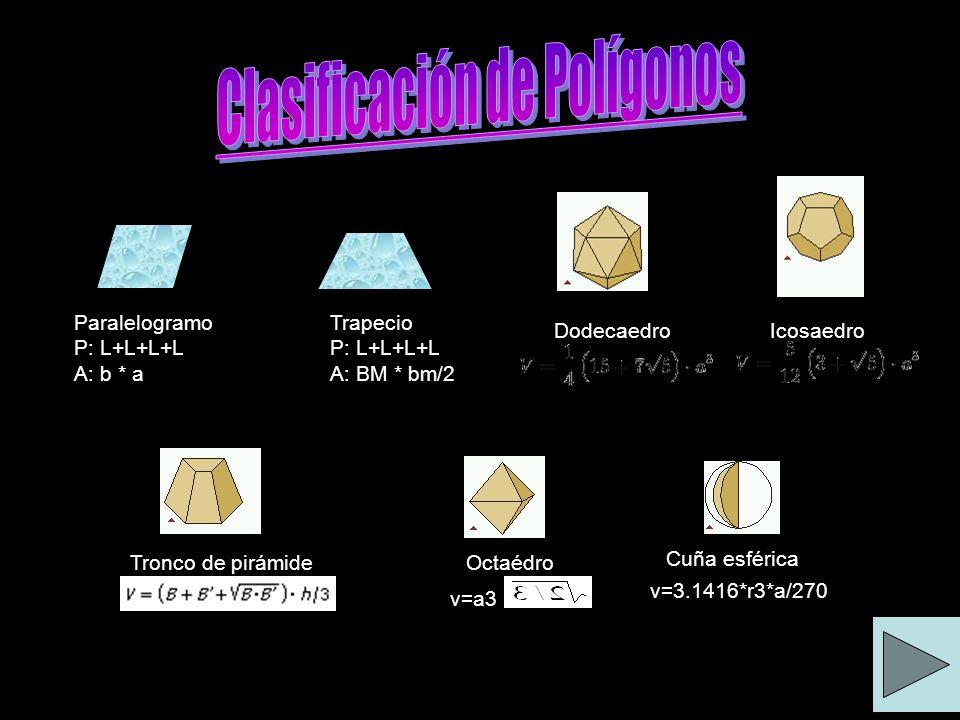 Paralelogramo P: L+L+L+L A: b * a Trapecio P: L+L+L+L A: BM * bm/2 Dodecaedro Icosaedro Tronco de pirámideOctaédro Cuña esférica v=3.1416*r3*a/270 v=a