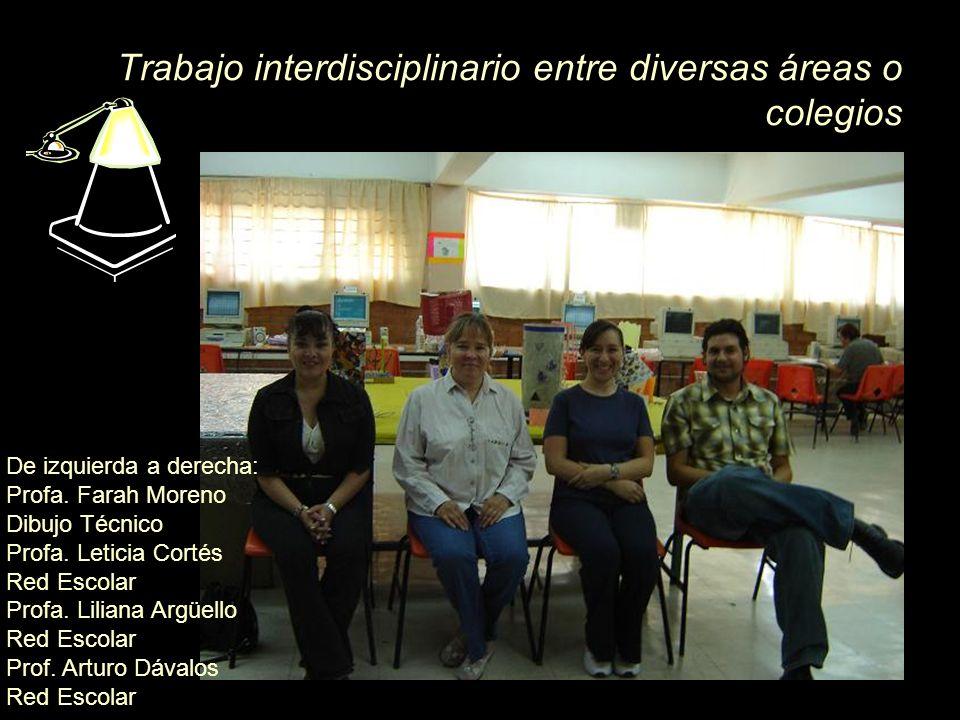 Trabajo interdisciplinario entre diversas áreas o colegios De izquierda a derecha: Profa. Farah Moreno Dibujo Técnico Profa. Leticia Cortés Red Escola