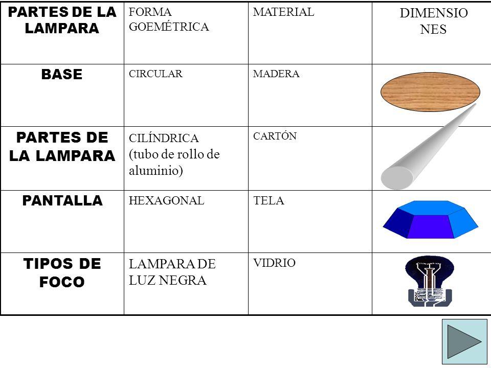 VIDRIO LAMPARA DE LUZ NEGRA TIPOS DE FOCO TELA HEXAGONAL PANTALLA CARTÓN CILÍNDRICA (tubo de rollo de aluminio) PARTES DE LA LAMPARA MADERA CIRCULAR B