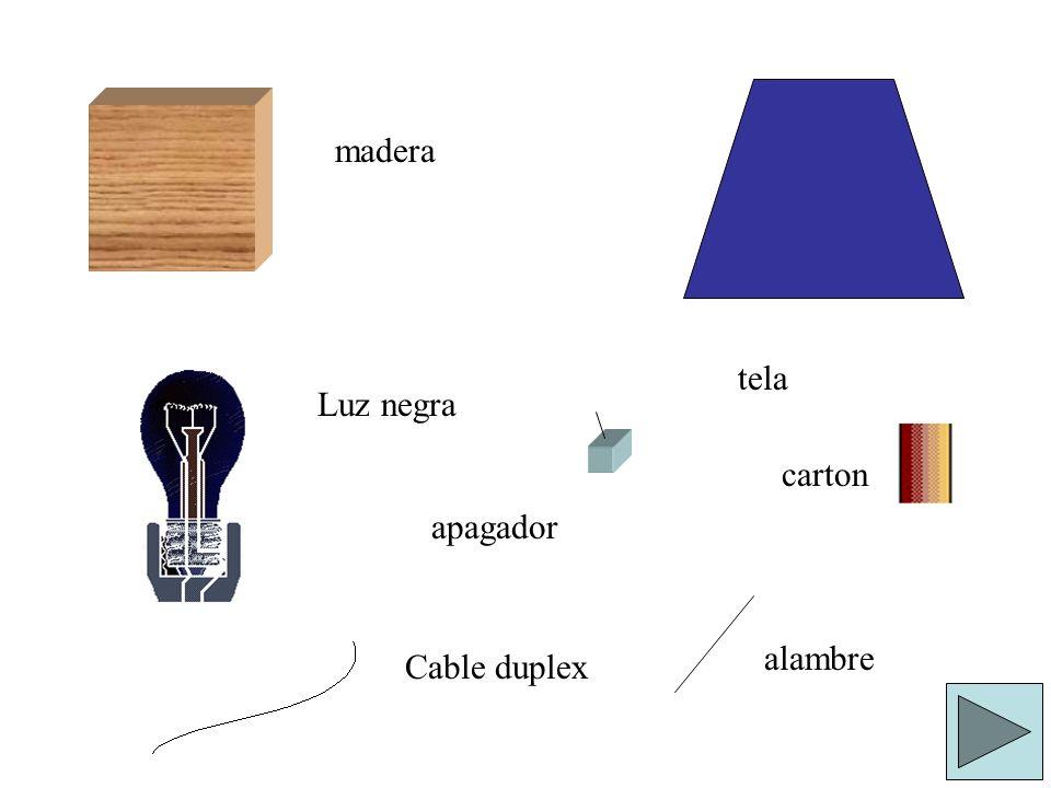 madera Luz negra tela carton Cable duplex apagador alambre