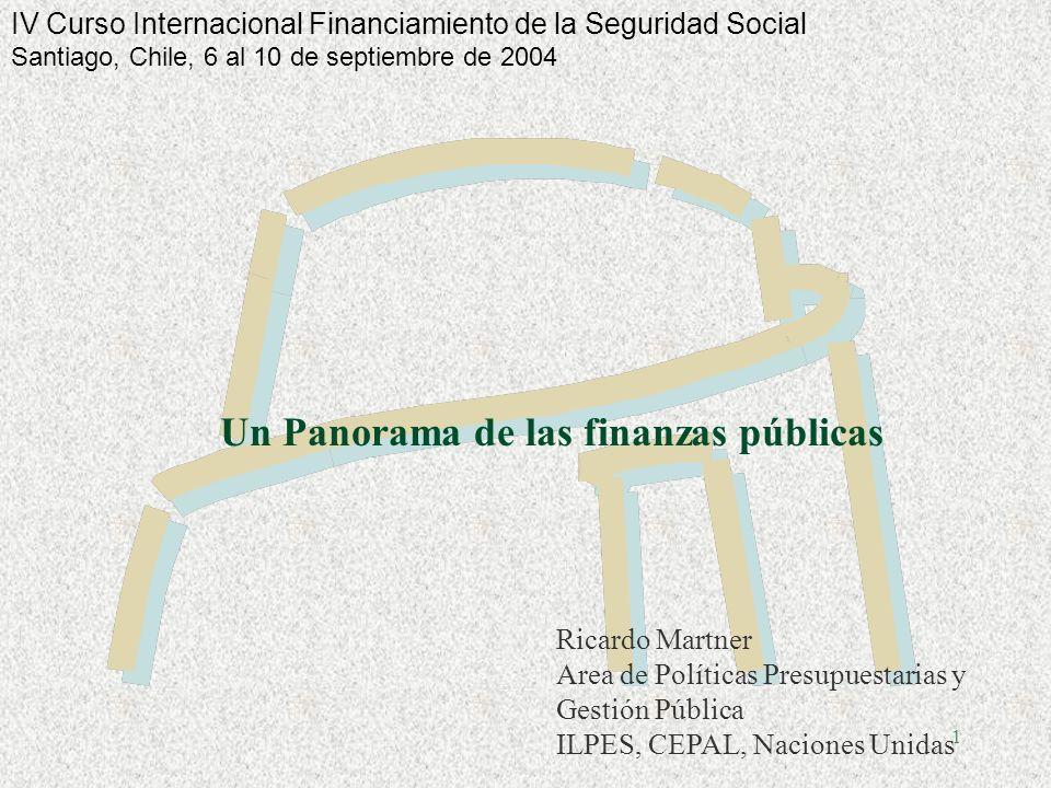 1 Un Panorama de las finanzas públicas Ricardo Martner Area de Políticas Presupuestarias y Gestión Pública ILPES, CEPAL, Naciones Unidas IV Curso Internacional Financiamiento de la Seguridad Social Santiago, Chile, 6 al 10 de septiembre de 2004