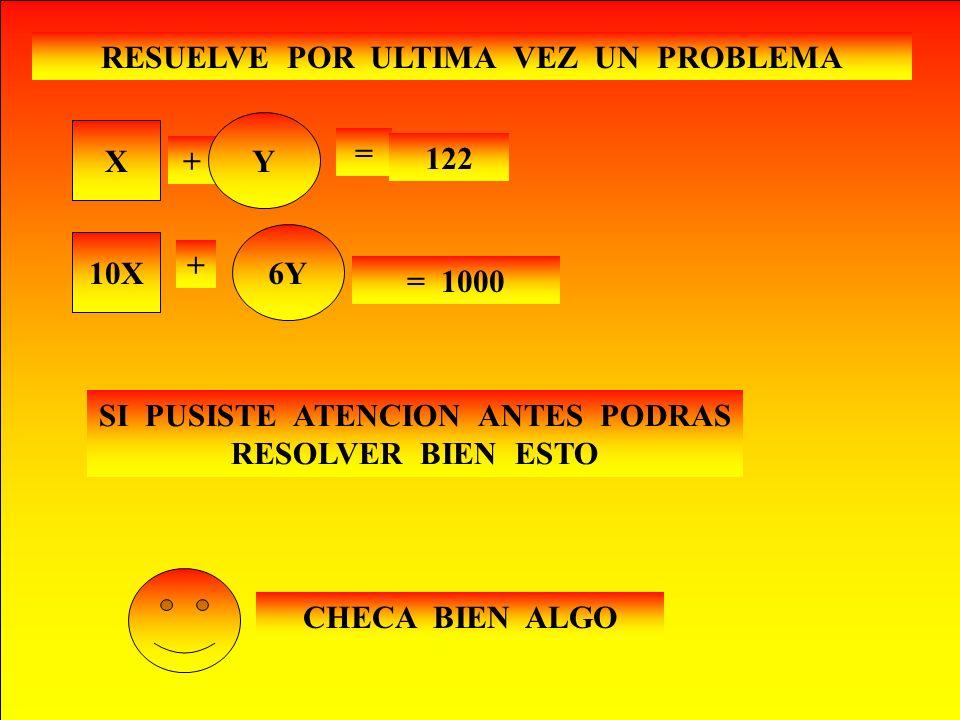 X= Y= EN UNA PAPELERIA EMPA- CARON 1000 LAPICES EN CAJAS CON 6 LAPICES EN TOTAL OBTUVIERON 122 CAJAS ¿CUÁNTAS CAJAS DE CADA TIPO LLENARON