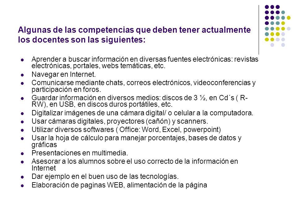 Algunas de las competencias que deben tener actualmente los docentes son las siguientes: Aprender a buscar información en diversas fuentes electrónica