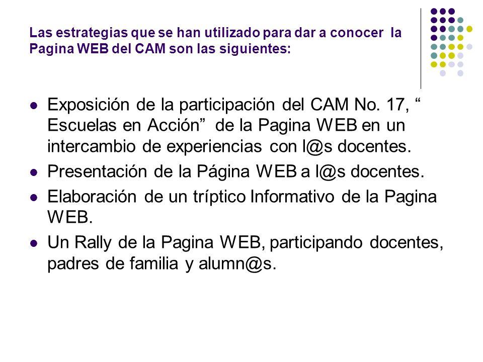 Las estrategias que se han utilizado para dar a conocer la Pagina WEB del CAM son las siguientes: Exposición de la participación del CAM No. 17, Escue