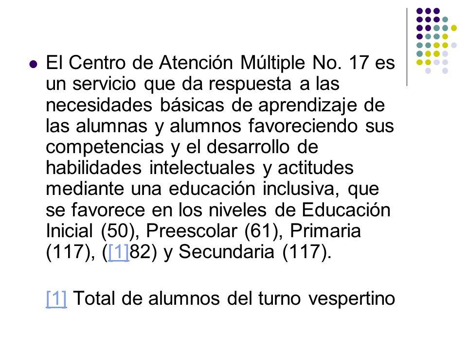 El Centro de Atención Múltiple No. 17 es un servicio que da respuesta a las necesidades básicas de aprendizaje de las alumnas y alumnos favoreciendo s