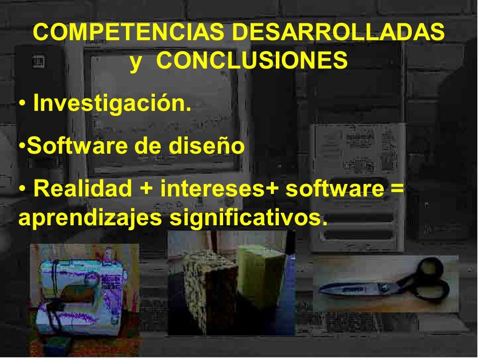 COMPETENCIAS DESARROLLADAS y CONCLUSIONES Investigación. Software de diseño Realidad + intereses+ software = aprendizajes significativos.