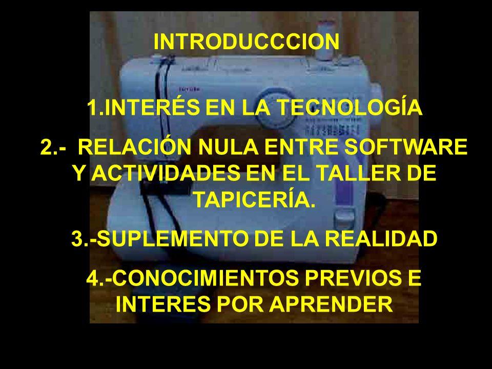 INTRODUCCCION 1.INTERÉS EN LA TECNOLOGÍA 2.- RELACIÓN NULA ENTRE SOFTWARE Y ACTIVIDADES EN EL TALLER DE TAPICERÍA. 3.-SUPLEMENTO DE LA REALIDAD 4.-CON