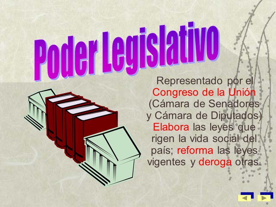 El presidente representa y ejerce este poder; promulga y ejecuta las leyes aprobadas por el Congreso de la Unión y propone la creación de nuevas leyes.