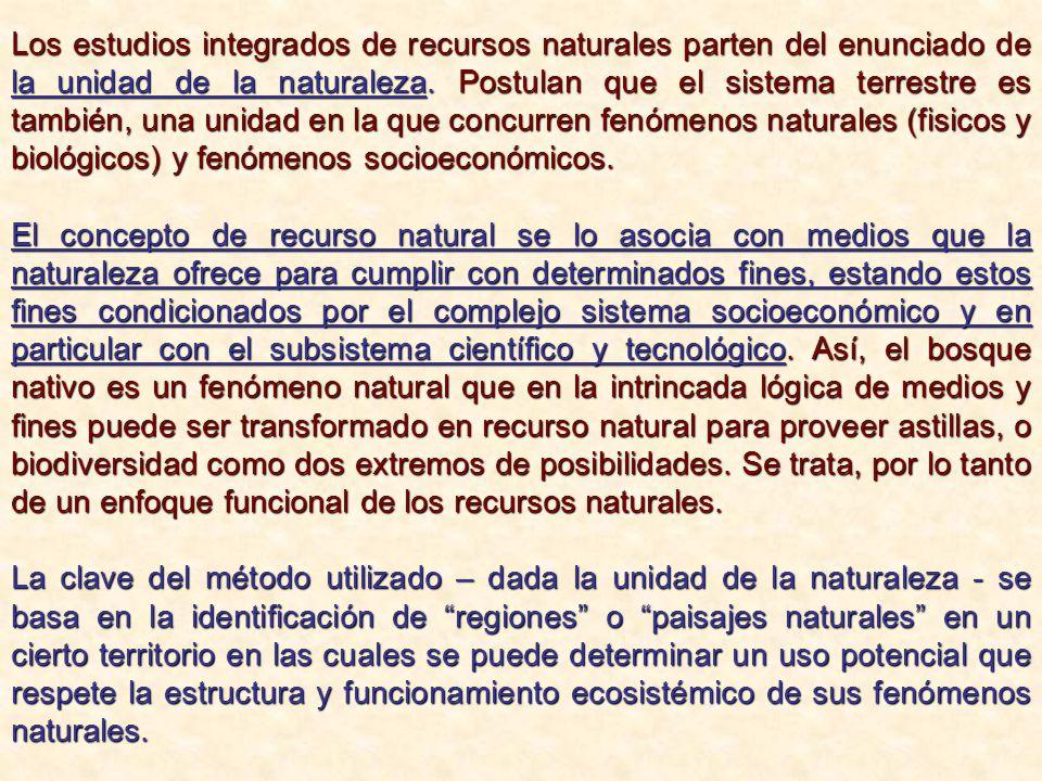 Los estudios integrados de recursos naturales parten del enunciado de la unidad de la naturaleza. Postulan que el sistema terrestre es también, una un