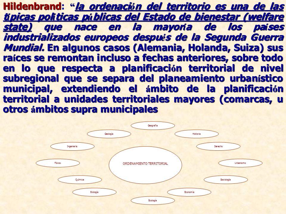 Hildenbrand la ordenaci ó n del territorio es una de las t í picas pol í ticas p ú blicas del Estado de bienestar (welfare state) que nace en la mayor