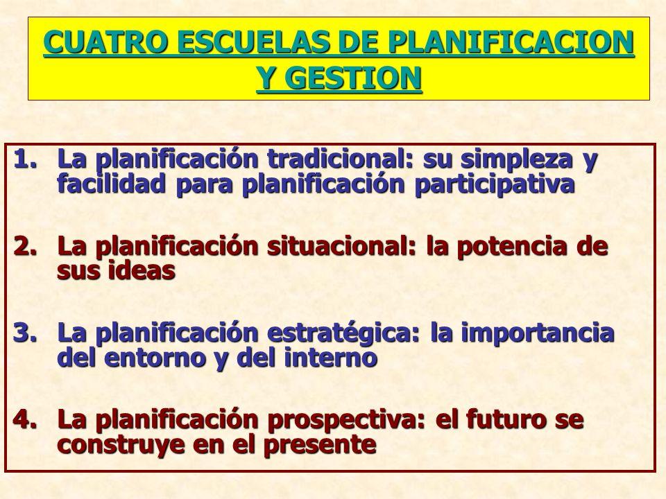 CUATRO ESCUELAS DE PLANIFICACION Y GESTION CUATRO ESCUELAS DE PLANIFICACION Y GESTION 1.La planificación tradicional: su simpleza y facilidad para pla