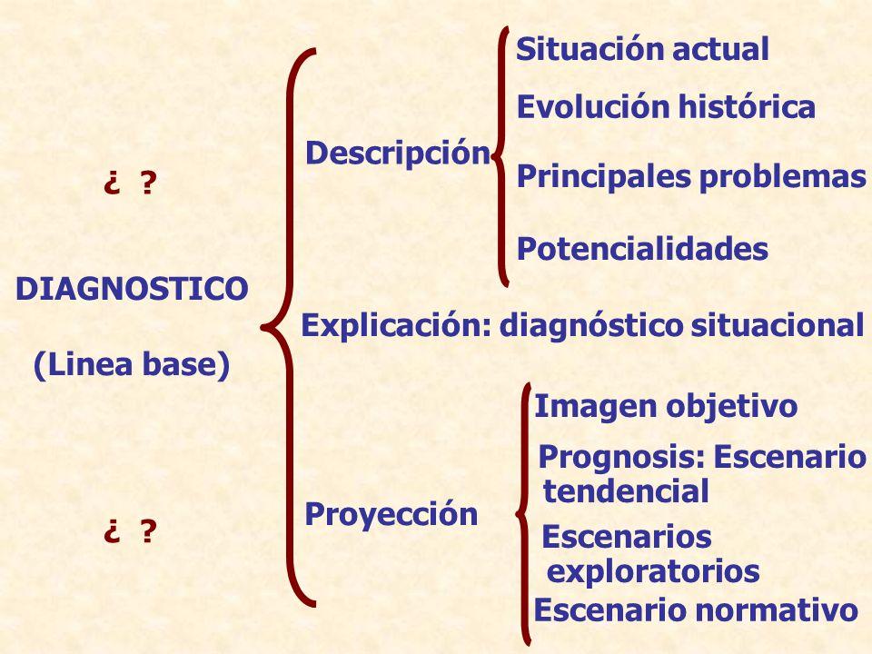 Descripción Situación actual Evolución histórica Principales problemas Potencialidades Explicación: diagnóstico situacional Proyección DIAGNOSTICO (Li