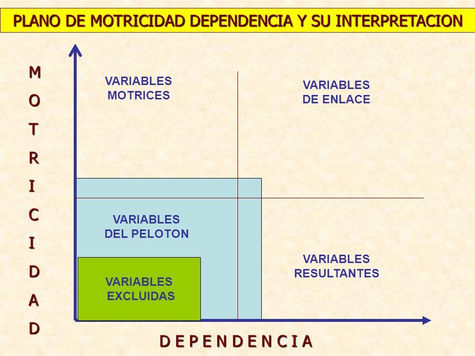 MOTRICIDAD D E P E N D E N C I A VARIABLES MOTRICES VARIABLES DE ENLACE VARIABLES RESULTANTES VARIABLES EXCLUIDAS PLANO DE MOTRICIDAD DEPENDENCIA Y SU
