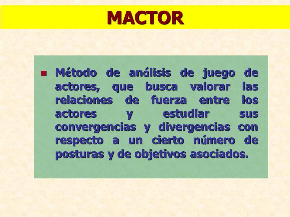 MACTOR M é todo de an á lisis de juego de actores, que busca valorar las relaciones de fuerza entre los actores y estudiar sus convergencias y diverge