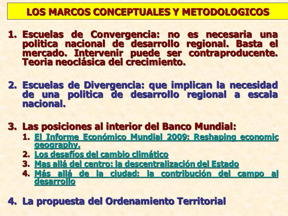 1.Escuelas de Convergencia: no es necesaria una politica nacional de desarrollo regional. Basta el mercado. Intervenir puede ser contraproducente. Teo