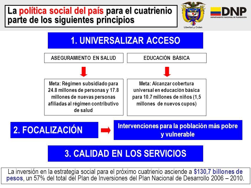 1. UNIVERSALIZAR ACCESO La política social del país para el cuatrienio parte de los siguientes principios EDUCACIÓN BÁSICAASEGURAMIENTO EN SALUD Meta: