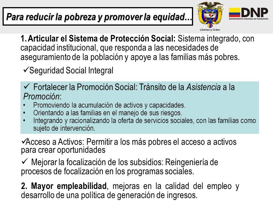 Para reducir la pobreza y promover la equidad… 1. Articular el Sistema de Protección Social: Sistema integrado, con capacidad institucional, que respo